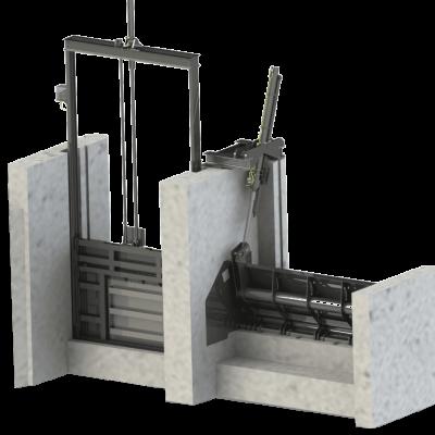 Stahlwasserbau, Gleitschütz, Wehrklappe, Hydraulikzylinder