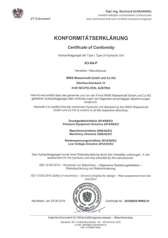 Konformitätserklärung K3-64-P Hydraulikaggregat WWS