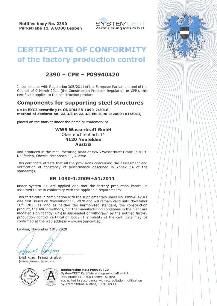 certificat EN1090 Auszeichnung WWS
