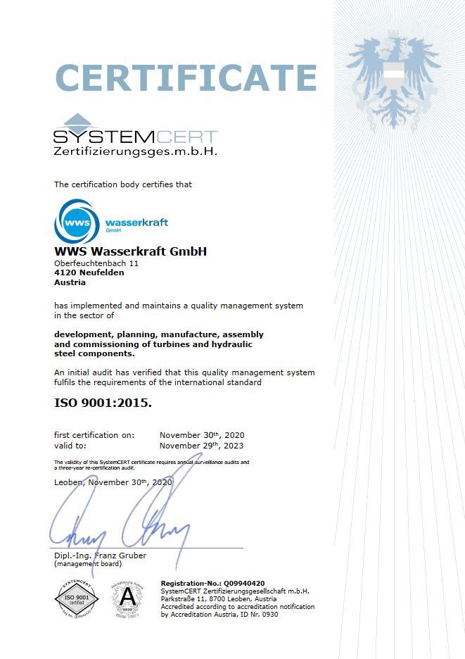 Auszeichnung Zertifikat ISO certificate WWS